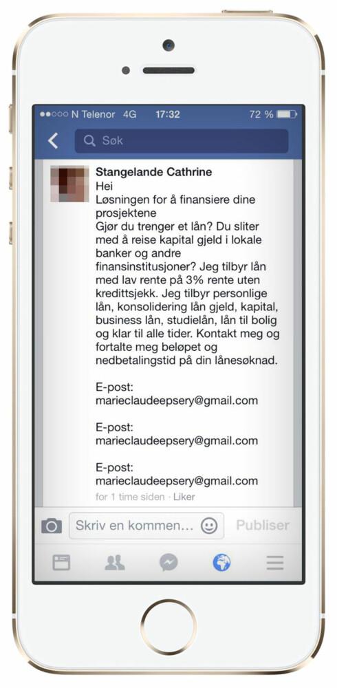 SPRER SPAM: Her ser du hvordan «Stangeland Cathrine» lokker med lån i en post som vil dukke opp blant de som har godkjent henne som venn. Profilene hadde da andre profilbilder.  Foto: OLE PETTER BAUGERØD STOKKE