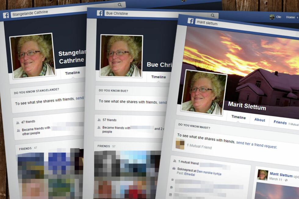 FALSKE: Lengst til høyre ligger Marit Slettum sin Facebook-profil. De to andre er falske, men bruker altså Slettums profilbilde.  Foto: OLE PETTER BAUGERØD STOKKE