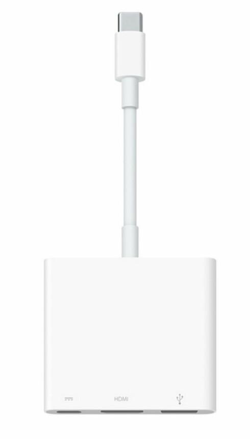 TRE I ÉN: Apples multiportadapter lar deg lade maskinen samt koble til skjerm og en USB-enhet samtidig. Foto: APPLE