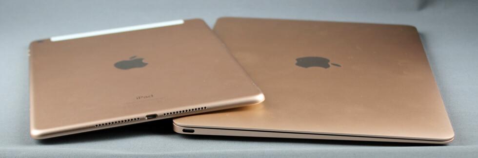 MINNER OM IPAD: MacBook-en har mange likhetstrekk med iPad; er tynn, har få porter og kommer i gull. Foto: KIRSTI ØSTVANG