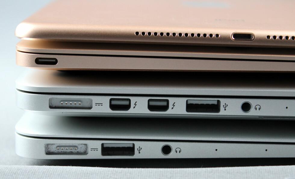 HVOR MYE TRENGER DU?  iPad, MacBook, MacBook Pro og MacBook Air byr på ulike tilkoblingsmuligheter. MacBook Pro har definitivt flest. Foto: KIRSTI ØSTVANG