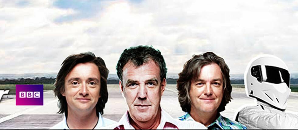 EVENTYRET OVER? Det kan se ut som om Top Gear, slik vi kjenner det, er over for nå. Clarkson, i midten, har fått sparken. James May, til høyre, har allerede satset på nye prosjekter, og Richard Hammond, til venstre, har også annosert at han ikke ønsker å fortsette. Foto: BBC