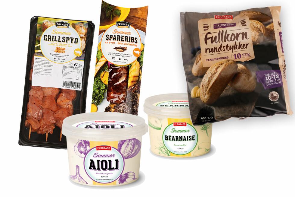GRILL: Halvparten av nyhetene fra NorgesGruppen nå i mai, er grillprodukter, og her er noen. I tillegg kommer de med frosne fullkornsrundstykker og fullkornsrundstykker. Foto: NORGESGRUPPEN