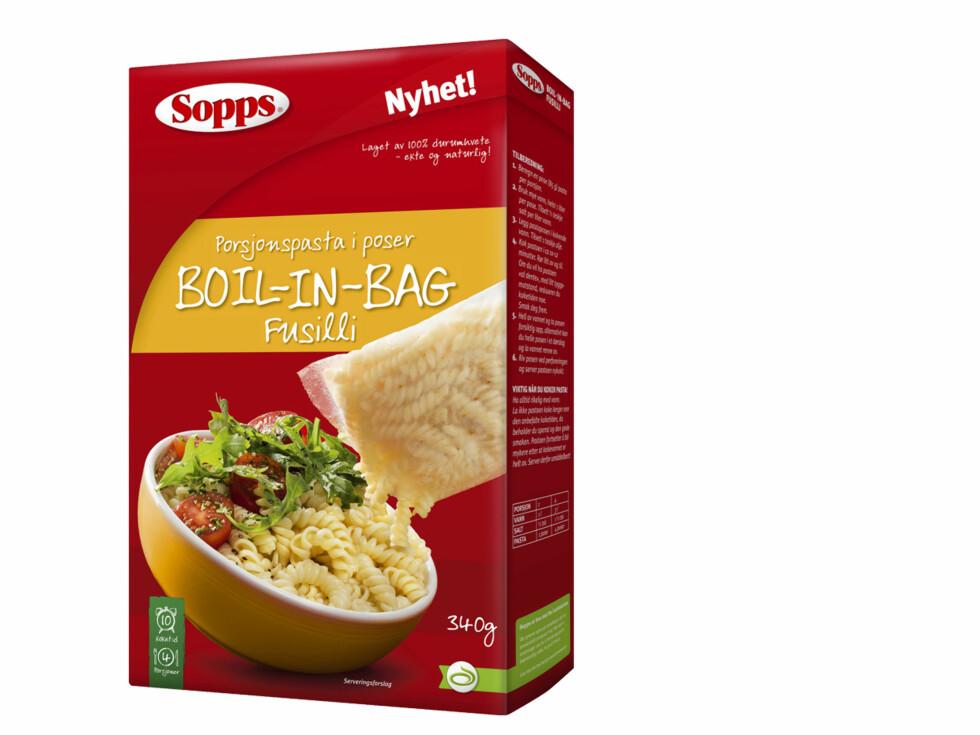 PASTA I POSE: Det er etterhvert mange produkter du skal koke i pose, og nå også pasta. Det skal gjøre det lettere for deg å beregne riktig mengde pasta. Foto: SOPPS