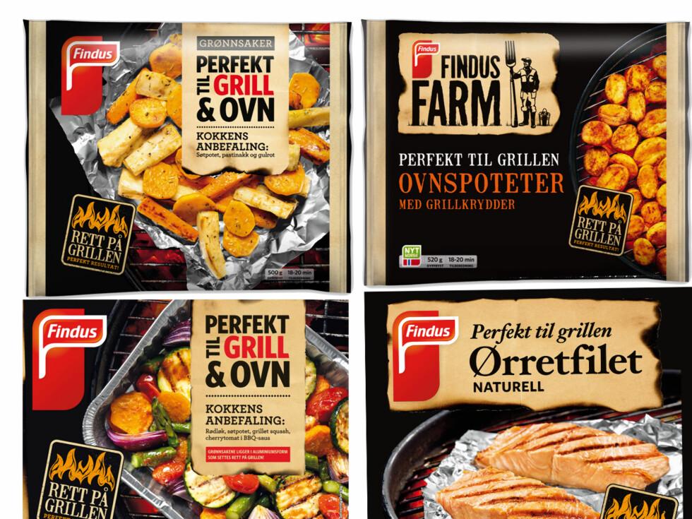 RETT FRA FRYS TIL GRILL: En ny serie med fryste grillprodukter fra Findus. Velg mellom ørret, rotgrønnsaker, poteter og grillgrønnsaker. Foto: FINDUS