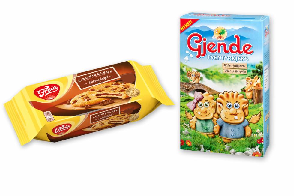 KJEKS: Freia lanserer cookieglede, med sprø utside og myk kjerne på innsiden. Gjende Eventyrkjeks er formet som små figurer, og inneholder 51 prosent fullkorn. Foto: MONDELEZ/ORKLA