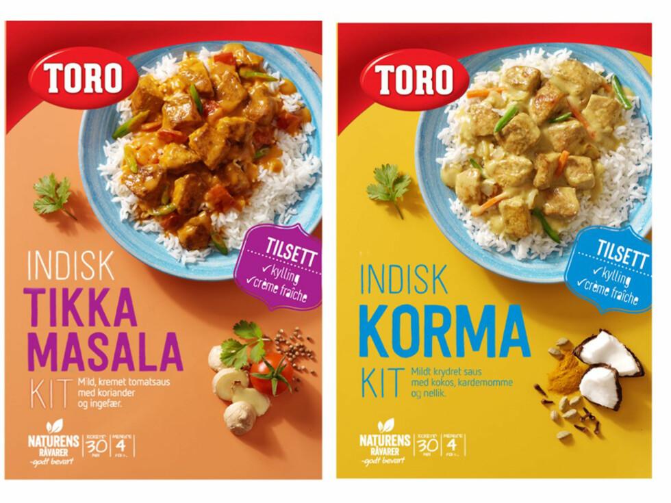 GRYTER: To nye indiske Kit: Tikka Masala og Korma. Foto: ORKLA
