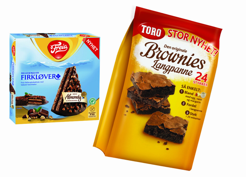 SØTT: To kaker til mai-festen? Almondy mandelkake med Freia Firkløver fra frysedisken, og Toro Brownies i langpannestørrelse. Foto: ORKLA/FREIA