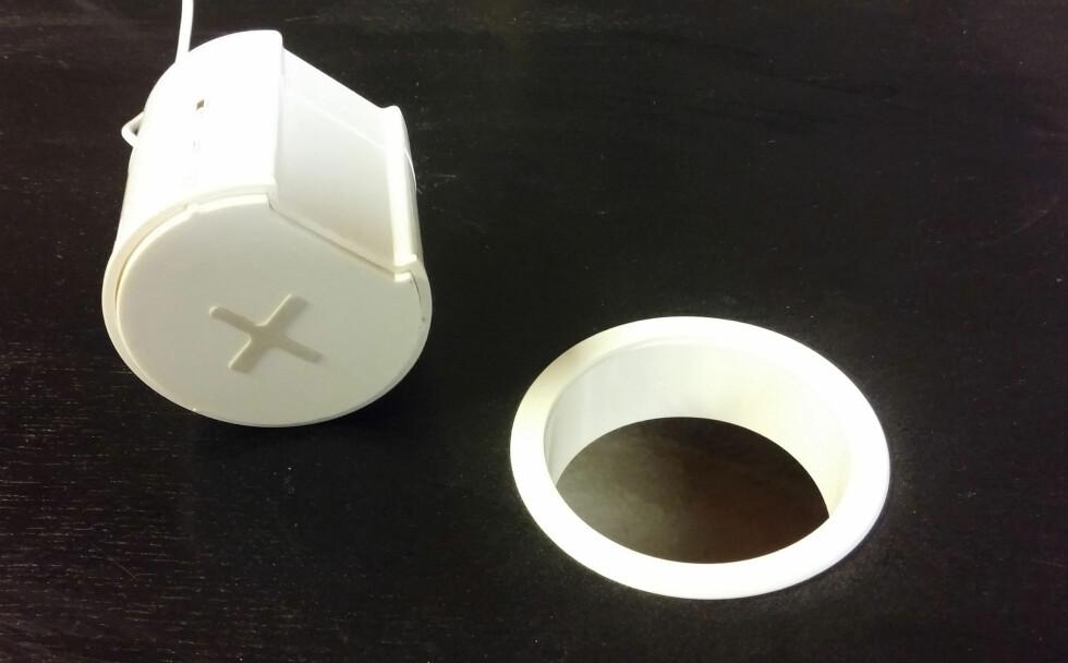 KLAR TIL MONTERING:  Ringen er på plass, det er bare å plassere selve laderen. Foto: BRYNJULF BLIX