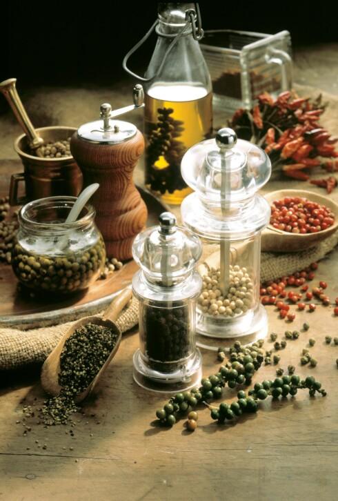 ULIKE NYANSER AV PEPPER: Og kverner du grove korn, både lukter og smaker det mer Foto: SCANPIX