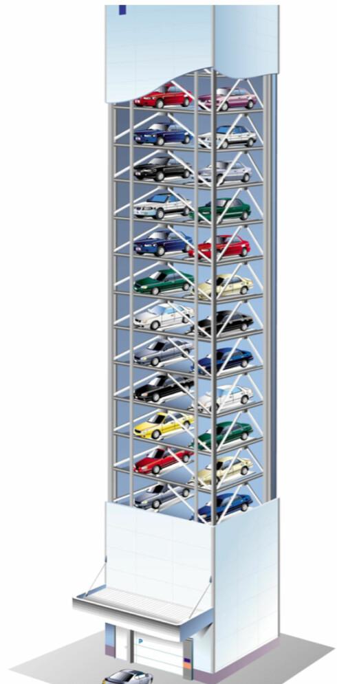 BIL-TÅRN: Systemet Ace kan ta 70 biler og øke parkingskapasistene med hele 2200 prosent. Foto: SMART PARKERING