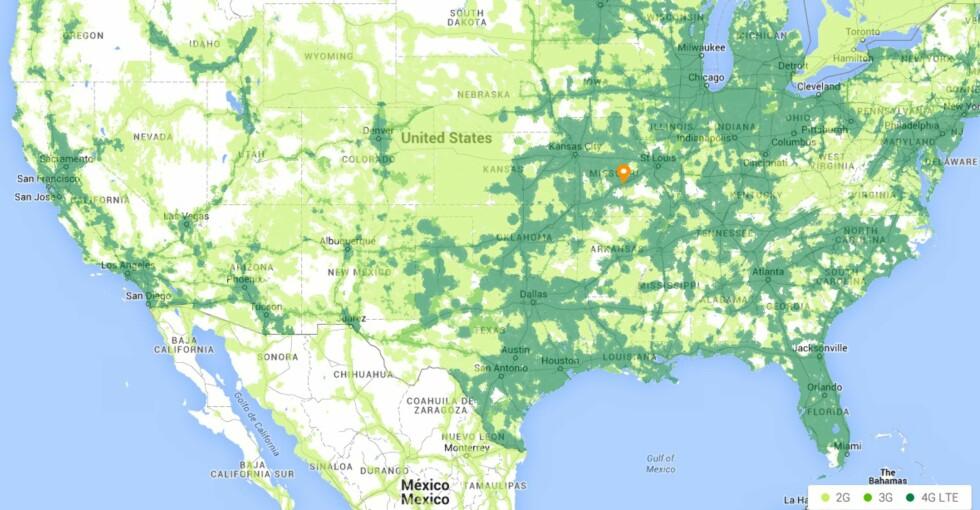 <strong><strong>DEKNING:</strong></strong> Her er mobildekningen i USA, men Google har også en database med over én million åpne, trådløse nettverk, som mobiltelefonen kan koble seg til.