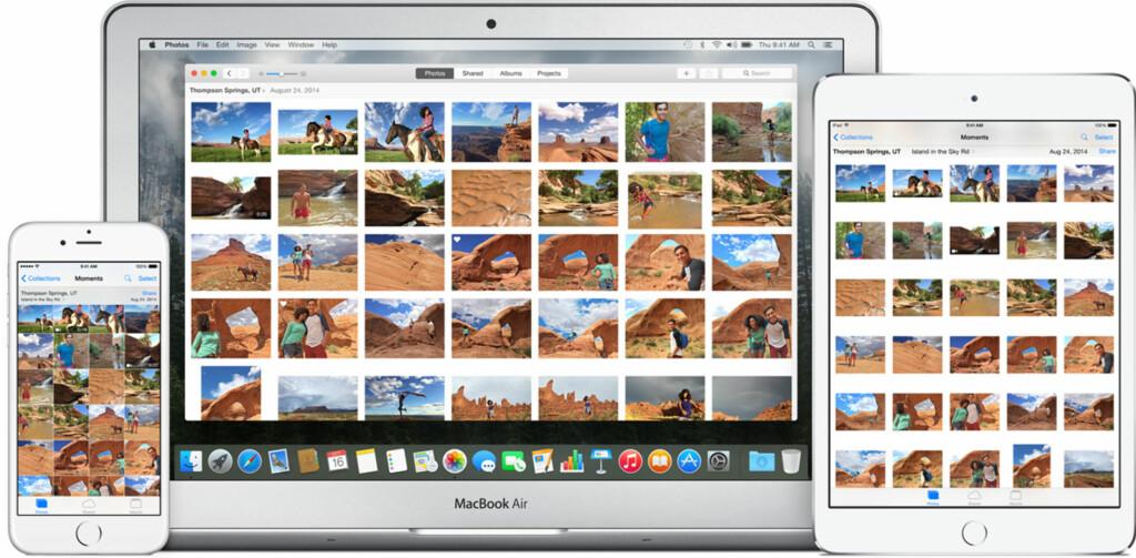 ALT PÅ NETT: iCloud er nå en av de sentrale funksjonene i Apples bildeprogram. Om du vil, kan alle bildene du har tatt lastes opp til iCloud. Foto: APPLE