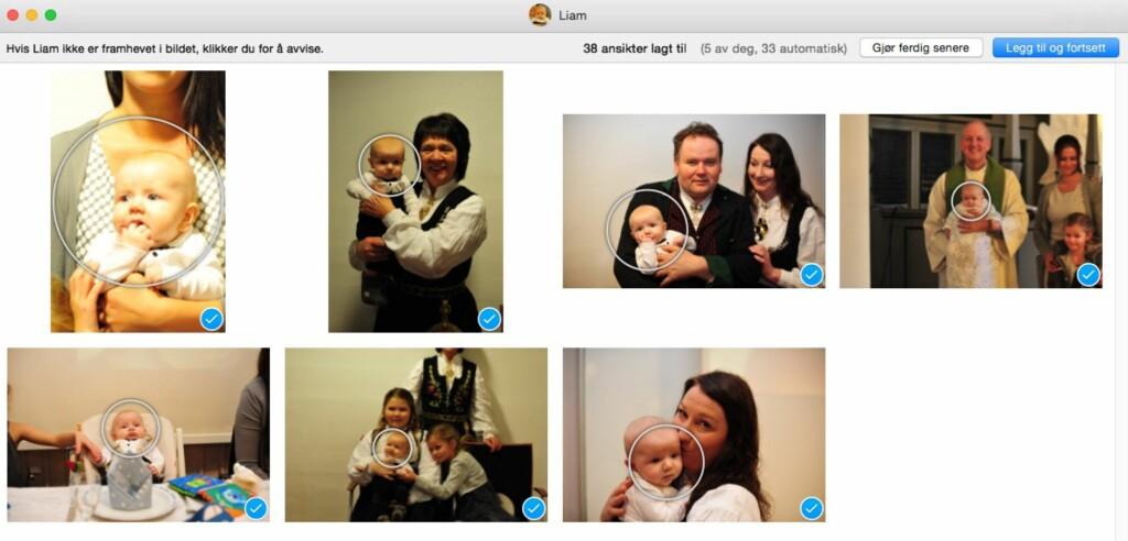 IDENTIFISERING: Med ansiktsfunksjonen kan du lære opp Bilder-programet til å vite hvem som er på bildene. Da blir det lettere å finne tilbake senere.