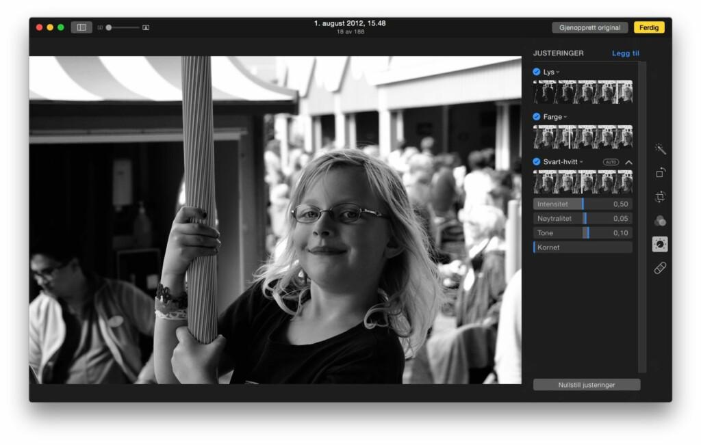 REDIGERING: Ved å dobbelklikke på et bilde og velge «Rediger», kan du beskjære, rotere, endre farger og den slags. Foto: PÅL JOAKIM OLSEN