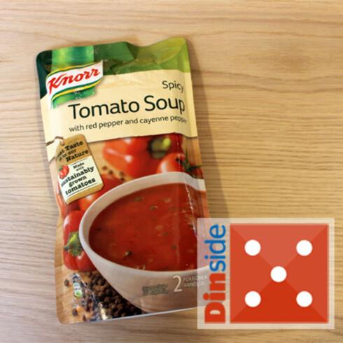 Tomatinnhold: 50 prosent (tomatpuré og hakkede tomater). Pris: 41,95 kr, Ica