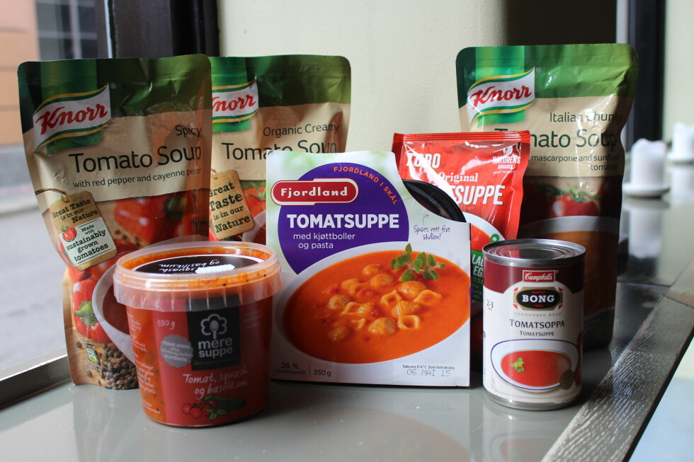 TOMATSUPPE: Følgende sju tomatsupper er testet, med varierende hell. Foto: ELISABETH DALSEG