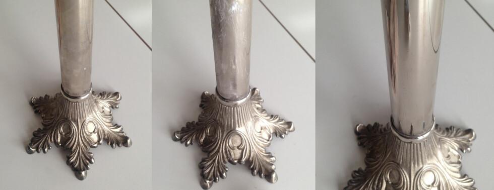 BLANKERE: Denne matte og flekkete lysestaken i sølvplett (til venstre) ble litt mer skinnende (til høyre) etter en liten omgang med tannkrem (midten). Foto: KAROLINE BRUBÆK