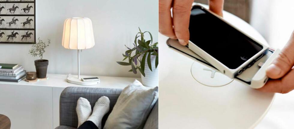 LADER IPHONE: Med det nye trådløse ladesystemet til IKEA kan du også lade Apple- og Samsung-telefoner som ikke har støtte for trådløs lading fra før, via nye deksler. Foto: IKEA