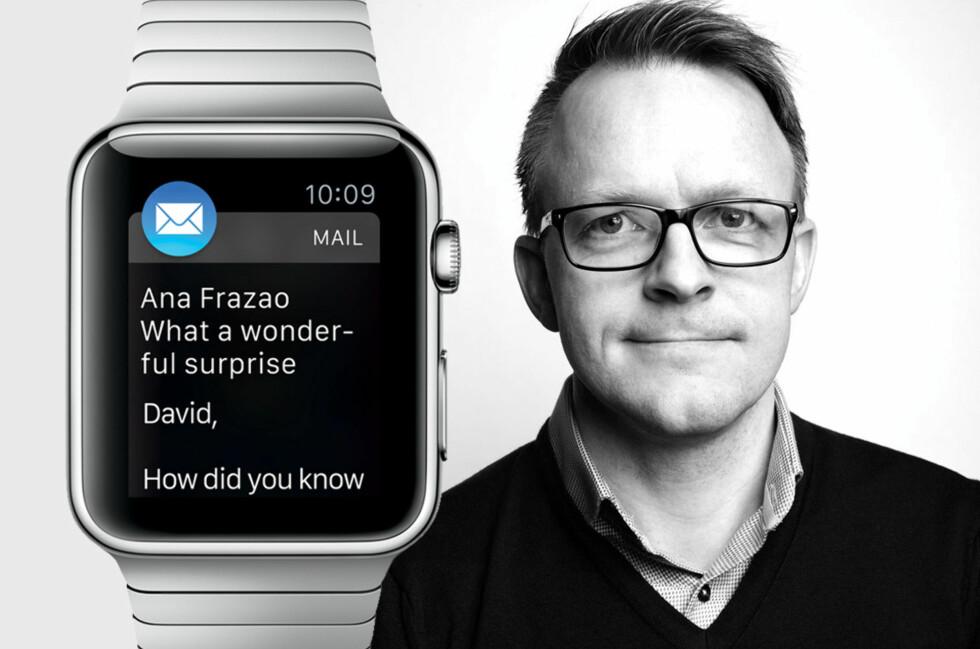 SKUFFA: Eilif Kiland prøvde å handle Apple Watch fra amerikanske Apple Store via en videresender, men ble nektet. Han forstår avgjørelsen, men ble likevel skuffa. Foto: BIRGIT SOLHAUG / APPLE / OLE PETTER BAUGERØD STOKKE