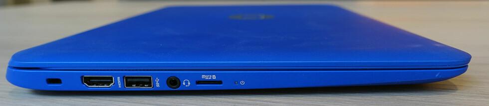 GODT MED PORTER: På venstre side har HP Stream både USB3- og HDMI-porter. Micro SD-kortleseren kan du bruke for å utvide lagringsplassen med kompatible kort. Foto: PÅL JOAKIM OLSEN