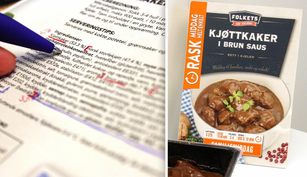 OMFATTENDE: Ingredienslista til Folkets kjøttkaker teller 65 oppføringer. Vi tar derfor ikke for oss alle, og har heller ikke bedt NorgesGruppen forklare oss alt. Foto: OLE PETTER BAUGERØD STOKKE