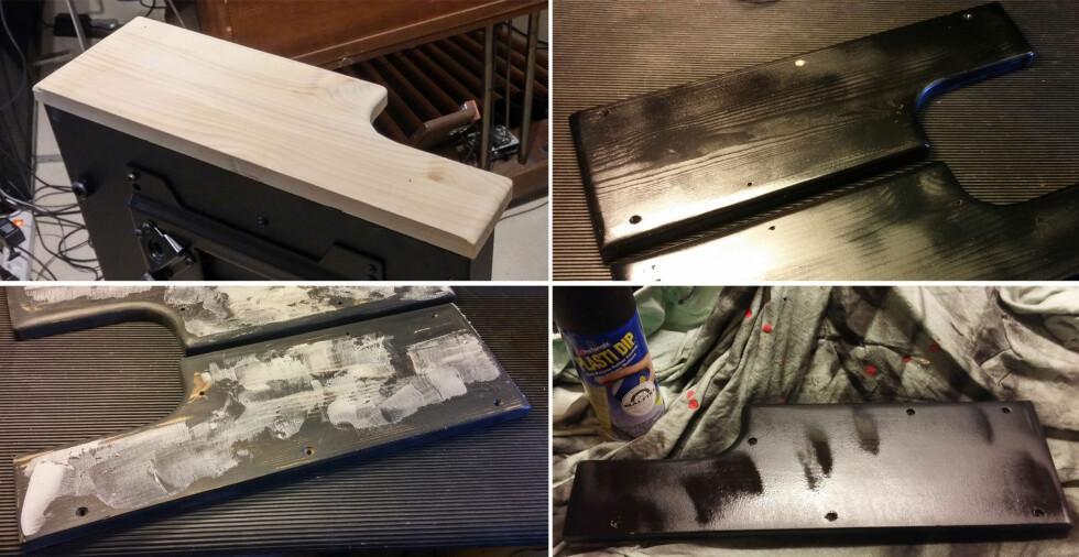 PROSESSEN: Trestykkene ble pusset, lakket, sparklet og fikk til slutt tre lag med gummi på sprayboks. Foto: BRYNJULF BLIX