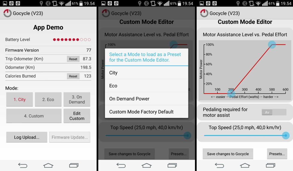 APP-KONTROLL: Med appen kan du lese av bruksdata samt velge og justere innstillinger for framdriftshjelp. Foto: BRYNJULF BLIX