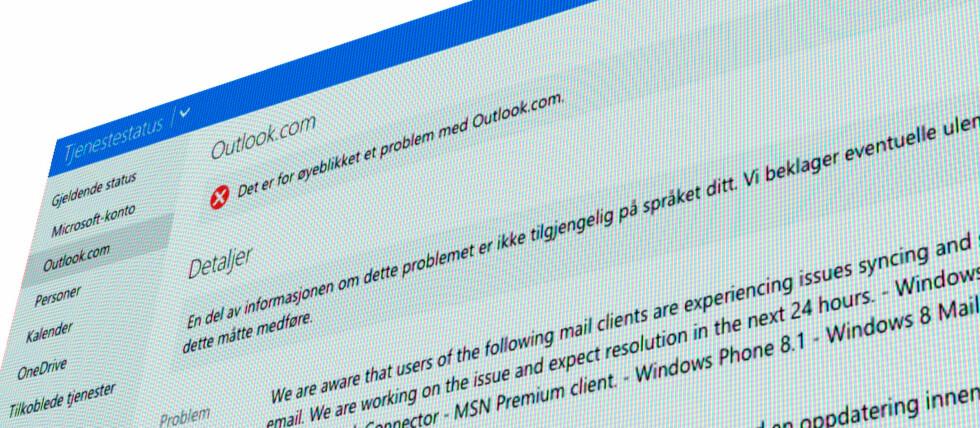 PROBLEMER: Microsoft har i dag problemer med sin eposttjeneste outlook.com. Foto: PÅL JOAKIM OLSEN