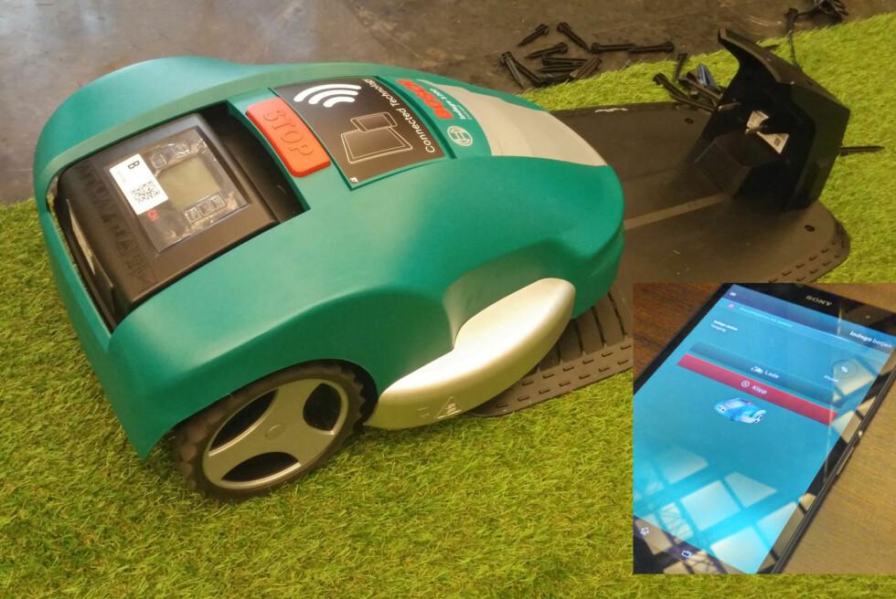 FULL KONTROLL MED APP: Den nyeste robotgressklipperen fra Bosch byr på nye muligheter. Foto: BRYNJULF BLIX