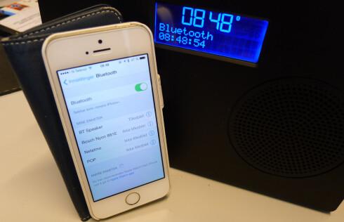 BLUETOOTH: Duo-radioen skal kobles til «BT Radio» og ikke til «Pop», som man skulle tro. Foto: TORE NESET