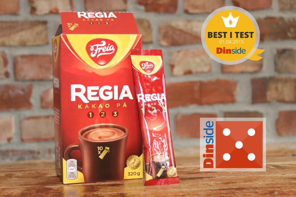 TESTVINNER: Regia Kakao på 1 2 3 inneholder 13 prosent fettredusert kakao og har 127 kcal per porsjon. Pris: 43,80 kroner for 10 porsjoner, 4,38 kroner per kopp. Foto: OLE PETTER BAUGERØD STOKKE