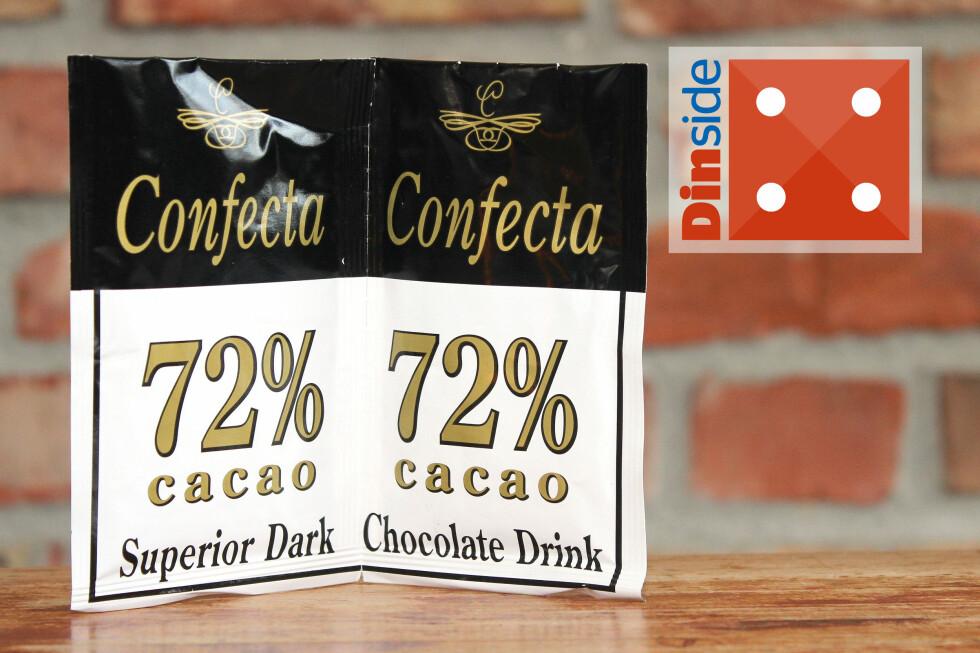 MØRK: Confecta Superior dark chocolate drink inneholder 72 prosent fettredusert kakaopulver, og 21 kcal per porsjon. Pris: 12,90 for to porsjoner, 6,45 kroner per kopp. Foto: OLE PETTER BAUGERØD STOKKE