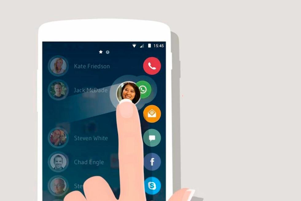 ENKELT: Sveip inn fra siden og sveip kontakten over ønsket ikon for å sende melding eller ringe. Foto: DRUPE