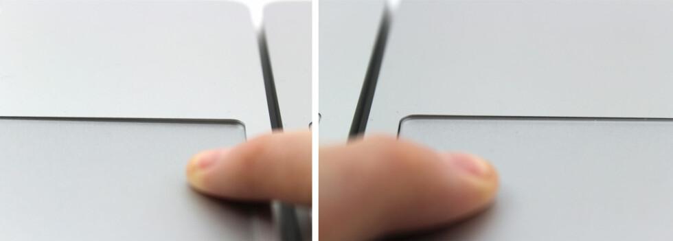 SER DU NOEN FORSKJELL? Gammel styreflate til venstre, ny styreflate til høyre. Her trykker vi like hardt på begge to. Foto: KIRSTI ØSTVANG