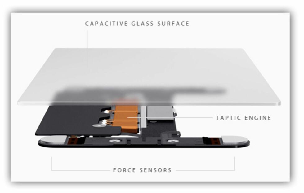 TEKNOLOGIEN BAK: Eller strengt tatt under. Styreflaten består av en glassplate, trykksensorer og en taptisk motor. Foto: APPLE