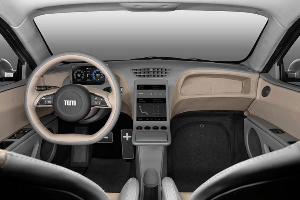 TIlSYNELATENDE ENKELT: BMW og Mercedes-samarbeid til tross: Ingen synlig luksus i elbilen fra det tekniske universitetet. Men teknologisk er dette ekstremt avansert. Instrumenter og betjening er berørings- og synsbasert og tilpasser seg førerens sitteposisjon. Det gjelder også pedalene. Foto: TUM