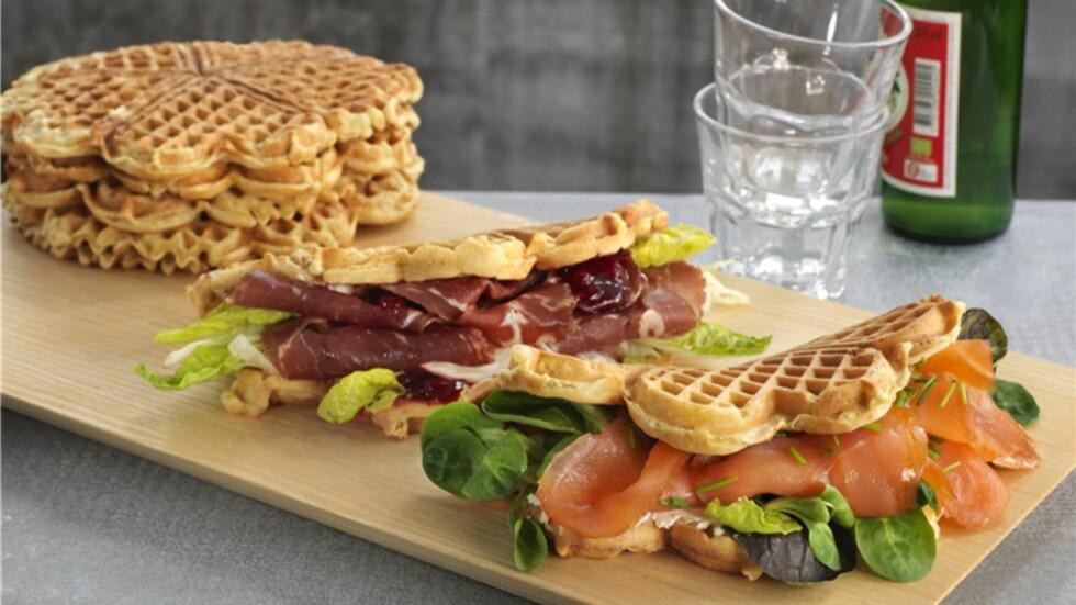PRØV MED SALTPÅLEGG: Med litt mindre sukker og litt mer salt, kan du lage supre sandwich-vafler.  Foto: MATPAT.NO