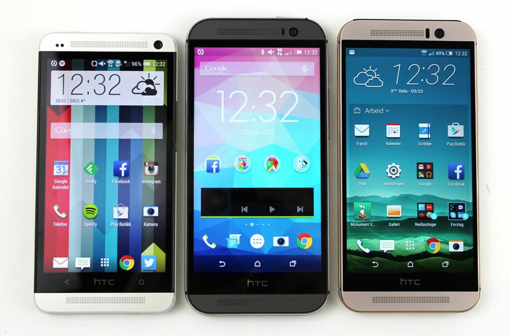 TRE GENERASJONER: Her er de tre One-mobilene, med henholdsvis 4,7 og 5 tommer skjerm. Foto: KIRSTI ØSTVANG