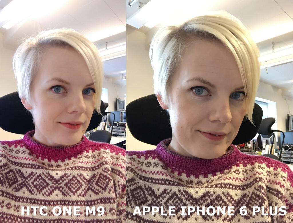 GOD PÅ SELFIES? Ganske! Men et skjønnhetsfilter jukser til hudfargen vår litt ... Bildet til høyre er den «harde» sannheten. Foto: KIRSTI ØSTVANG