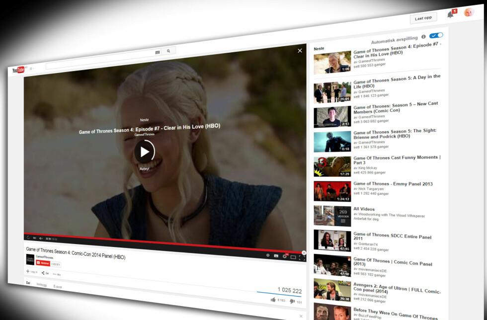 Slå av automatisk avspilling på YouTube