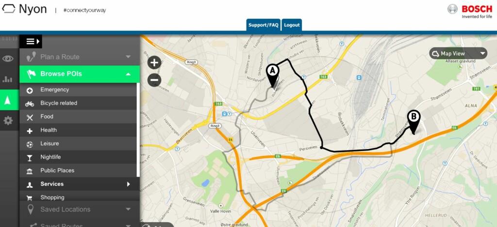 PÅ NETT: Du kan planlegge turen i ro og mak på PC-en og overføre ruten til sykkel-skjermen etterpå. Foto: BOSCH