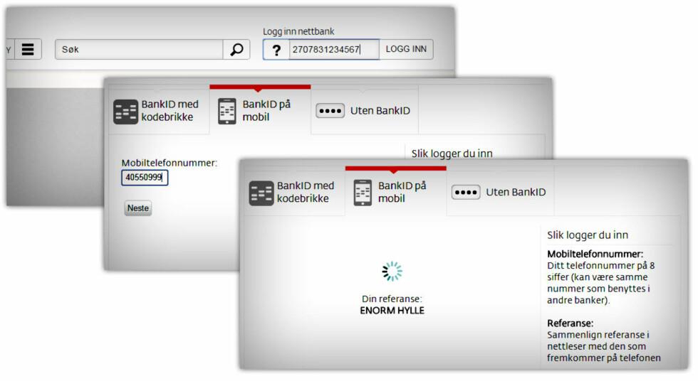 ENORM HYLLE: Du identifiserer deg som vanlig i nettbanken, velger BankID på mobil og blir tilsendt en snodig referanse.  Foto: OLE PETTER BAUGERØD STOKKE