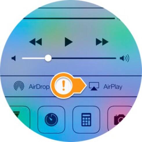 AIRPLAY: Vil du vise bildet på telefonen eller nettbrettet ditt på Apple TV, trykker du her.