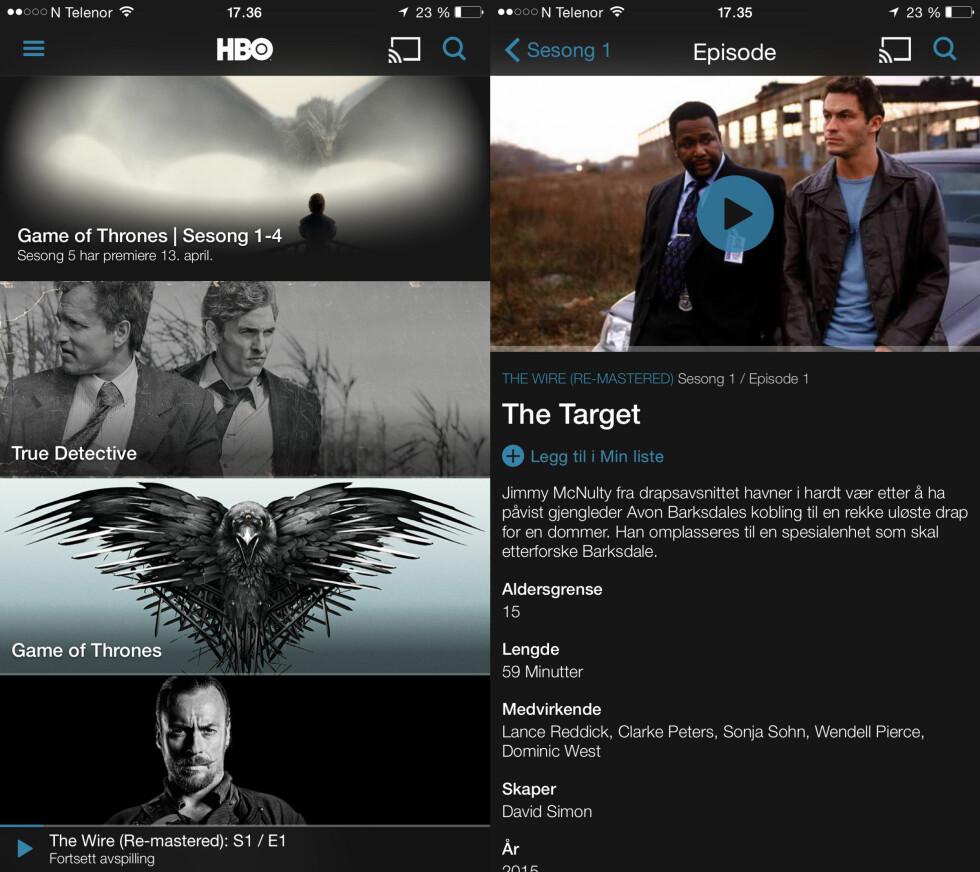 <strong><b>PUSSET OPP:</strong></b> HBO Nordic-appen ser litt annerledes ut enn før. Merk fortsett avspilling-funksjonen nederst i venstre skjermbilde. Foto: KIRSTI ØSTVANG