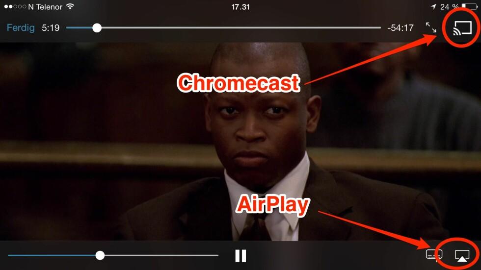 <strong><b>KNAPPENE DU MÅ SE ETTER:</strong></b> Har du en Apple TV eller Chromecast i heimen, kan du nå se HBO-serier på TV-en bare ved å trykke på en av disse to knappene. Foto: KIRSTI ØSTVANG