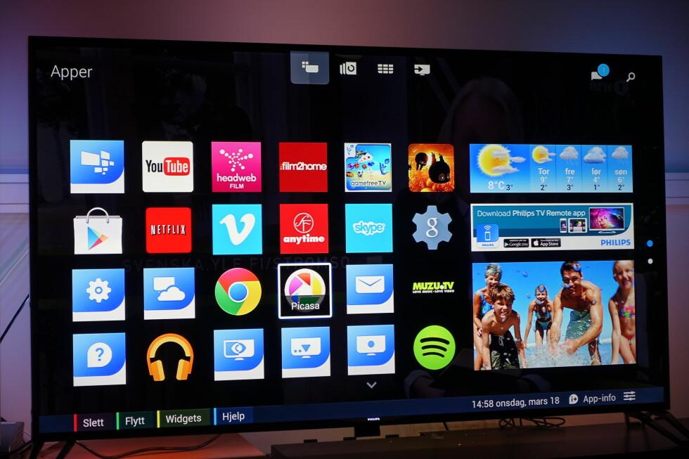 SMART-TV: I praksis får du en blanding av Philips gamle SmartTV-løsning og Android-løsningen. Det betyr blant annet at Spotify Direct fungerer fint, dessverre trekker den uferdige Android-løsningen ned helhetsinntrykket. På en TV i denne prisklassen forventer vi ganske enkelt at ting fungerer som lovet. Foto: ØYVIND PAULSEN