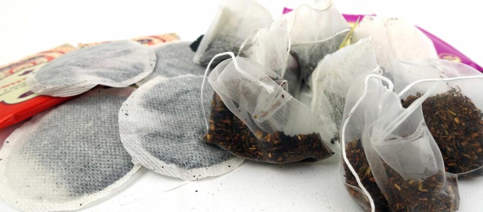 KUN FOR SYNS SKYLD: Det er ingen forskjell i smaken du får fra te i pyramideposer kontra vanlige teposer, ifølge te-ekspert. Forskjellen er i størrelsen på urtene og det rent visuelle. Foto: KRISTIN SØRDAL