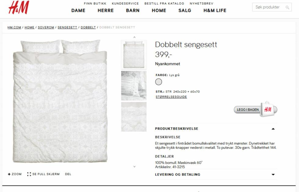 GARNSTØRRELSE: 30s sier noe om garnets tykkelse. 30s er vanlig sengetøyskvalitet. Foto: HM.COM