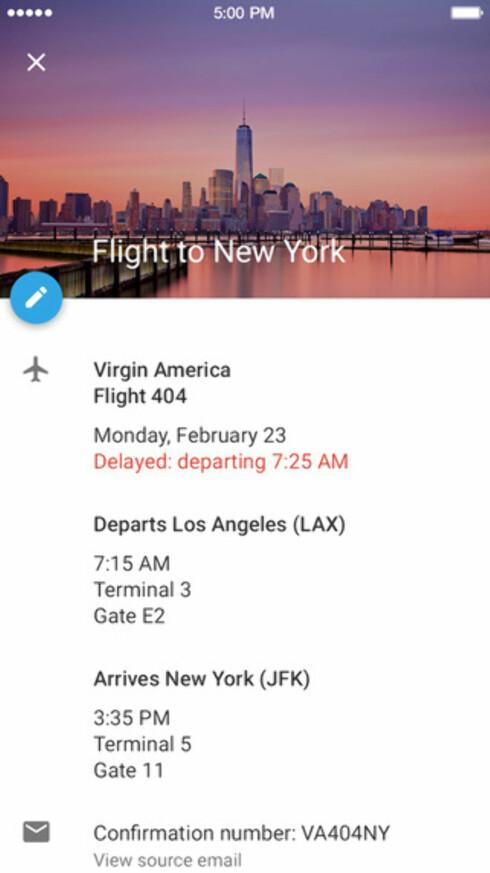 AVTALER FRA EPOST: Googles kalenderapp kan automatisk legge inn avtaler basert på epost du mottar i Gmail-kontoen din, for eksempel flybooking, som vist på skjermbildet.  Foto: GOOGLE